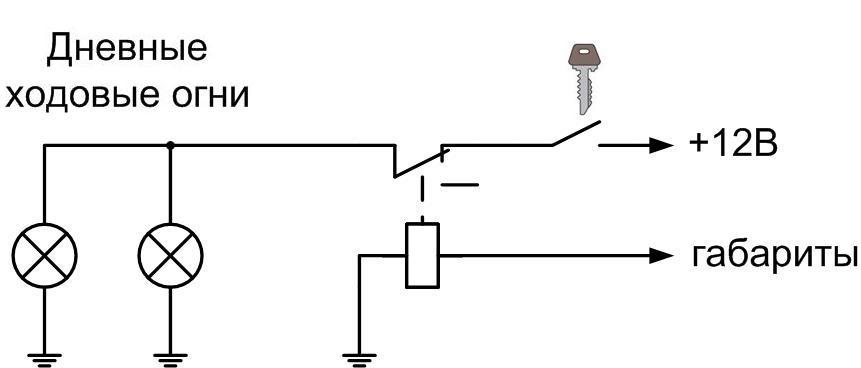 Электрическая схема реализующая данный алгоритм работ дневных ходовых огней приведена ниже.